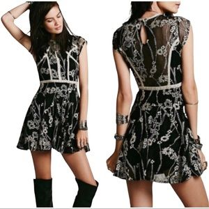Free People Laurel Lace Embroidered Lace Mini Dress Size 10
